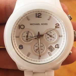 Michael Kors wrist watch in white & white band